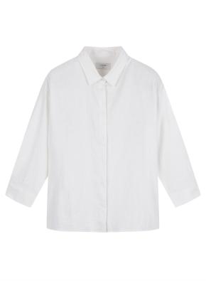 여성) 리넨 오버핏 7부 셔츠 (WT)