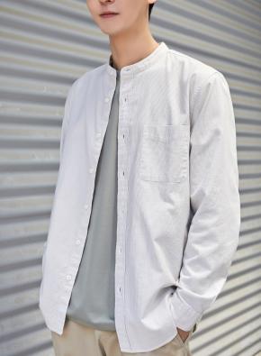 남성) 코튼 옥스포드 밴드카라 셔츠