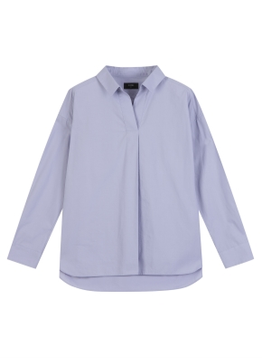 여성) 코튼 포플린 V넥 카라 셔츠