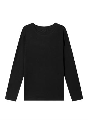 여성) 코튼 크루넥 긴팔 티셔츠 (BK)