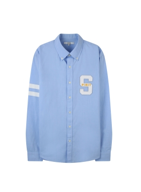 남성) 옥스포드 가슴 자수 포인트 남녀공용 셔츠 (BL)