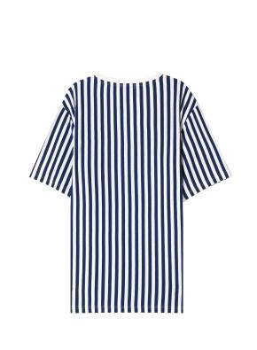 남성) 스트라이프 그래픽 티셔츠(NV)