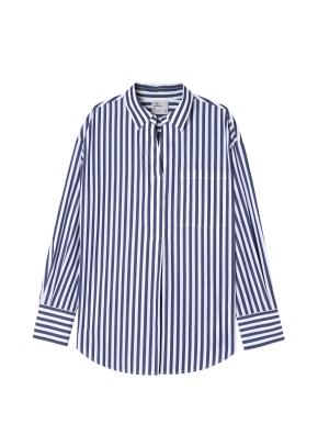 여성) 포플린 튜닉 변형넥 셔츠(DVP)