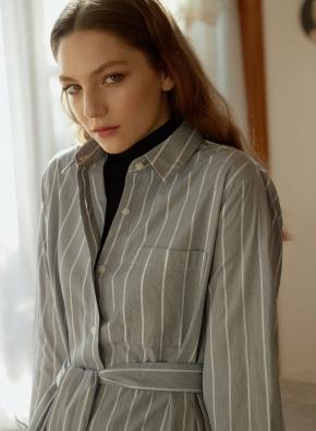 여성) 포플린 셔츠 원피스(GR)