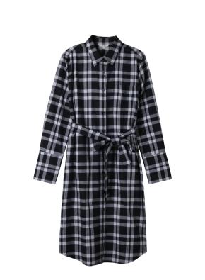 여성) 코튼 플란넬 레귤러핏 롱 셔츠(GRC)