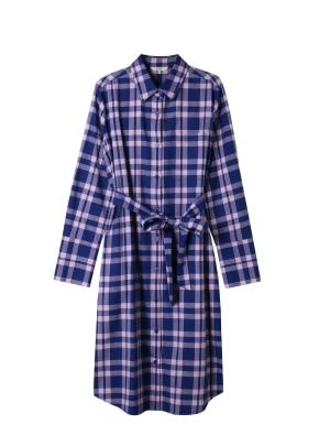 여성) 코튼 플란넬 레귤러핏 롱 셔츠(PKC)