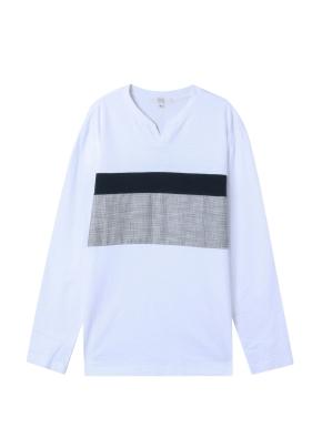 남성) 넥 슬릿 블럭킹 티셔츠(WT)