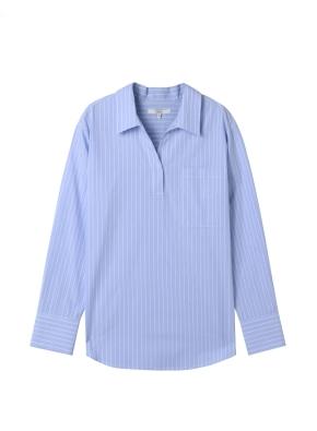 여성) 포플린 오픈카라 튜닉 셔츠(BLN)