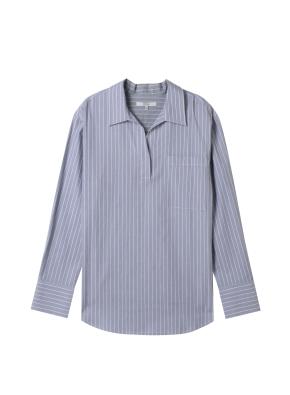여성) 포플린 오픈카라 튜닉 셔츠(GRN)