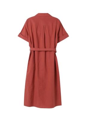 여성) 포플린 오픈카라 셔츠 원피스(BR)