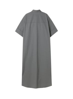 여성) 포플린 오픈카라 셔츠 원피스(CH)