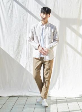 남성) 리넨 버튼다운 긴팔 셔츠(BE)