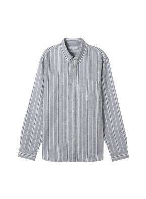 [★온라인 단독특가] 남성) 리넨 버튼다운 긴팔 셔츠(BKW)