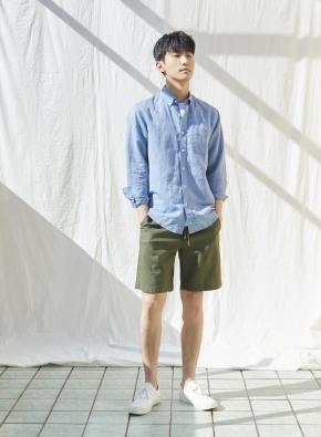 남성) 리넨 버튼다운 긴팔 셔츠(BL)