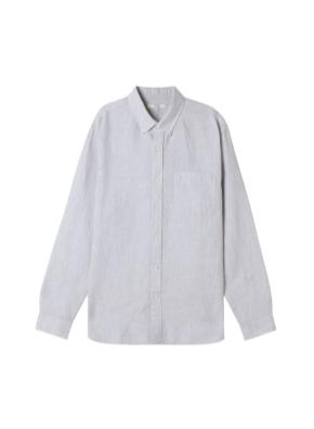 남성) 리넨 버튼다운 긴팔 셔츠 (GR)