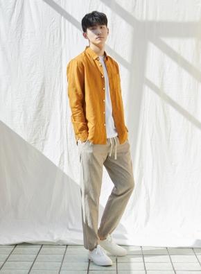 [★온라인 단독특가] 남성) 리넨 버튼다운 긴팔 셔츠(MU)