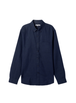 남성) 리넨 버튼다운 긴팔 셔츠(NV)