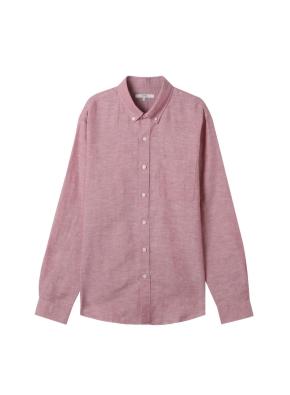 [★온라인 단독특가] 남성) 리넨 버튼다운 긴팔 셔츠(RD)
