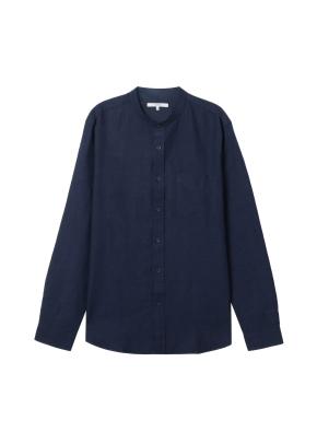 [★온라인 단독특가]  남성) 리넨 밴드카라 긴팔 셔츠(NV)