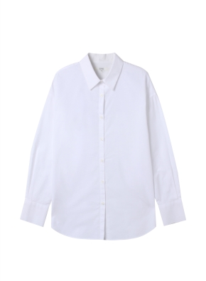여성) 포플린 레귤러 카라 긴팔 셔츠(WT)