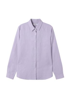 여성) 리넨 레귤러 카라 긴팔 셔츠(VI)
