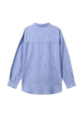 여성) 리넨 레귤러 카라 오버핏 긴팔 셔츠(BL)