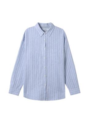 [★탑텐몰 단독특가] 여성) 리넨 레귤러 카라 오버핏 긴팔 셔츠(BLP)
