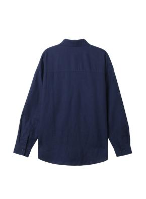 여성) 리넨 레귤러 카라 오버핏 긴팔 셔츠(NV)