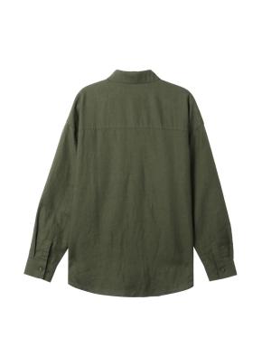 [★탑텐몰 단독특가] 여성) 리넨 레귤러 카라 오버핏 긴팔 셔츠(OL)