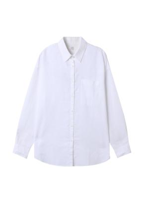 [★탑텐몰 단독특가] 여성) 리넨 레귤러 카라 오버핏 긴팔 셔츠(WT)
