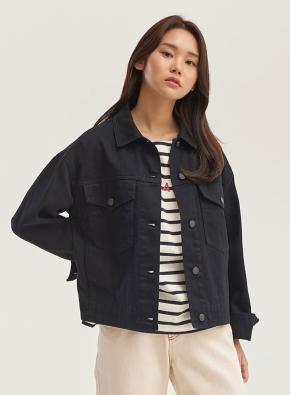 여성) 면 트러커 재킷 (BK)