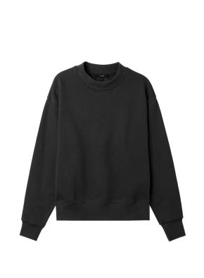 여성) 솔리드 맨투맨 티셔츠 (BK)
