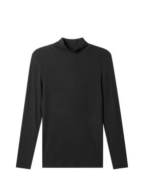 여성) 모달 스판 립 터틀넥 티셔츠 (BK)