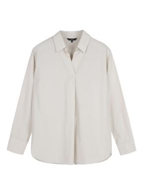 여성) 코튼 포플린 튜닉카라 솔리드 긴팔 셔츠