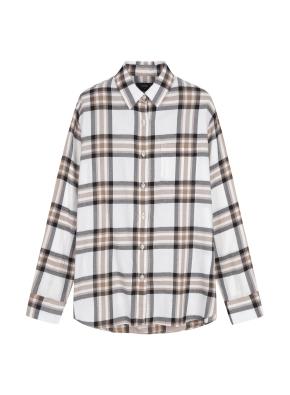 여성) 코튼 체크패턴 루즈핏 긴팔 셔츠