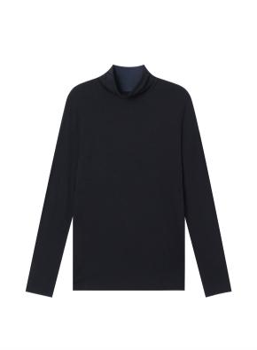 여성) 레이온 코튼 스판 터틀넥 티셔츠 (BK)