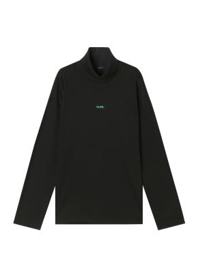 여성) 브러쉬드 루즈핏 레터링 터틀넥 티셔츠 (BK)