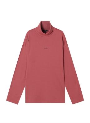여성) 브러쉬드 루즈핏 레터링 터틀넥 티셔츠