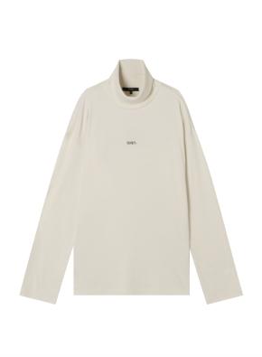 여성) 브러쉬드 루즈핏 레터링 터틀넥 티셔츠 (OWT)