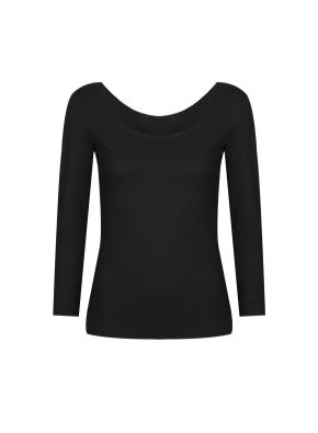 여성) 온에어 모달코튼 U넥 긴팔 티셔츠 (BK)