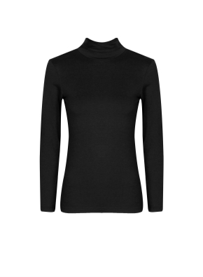 여성) 온에어 모달코튼 터틀넥 긴팔 티셔츠 (BK)