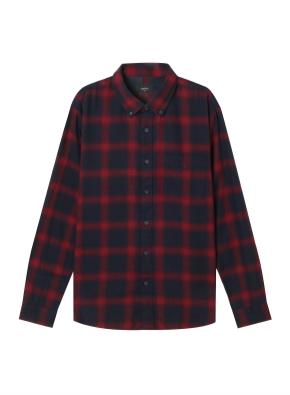 남성) 코튼 플란넬 체크 버튼다운 긴팔 셔츠(MW) (CRN)