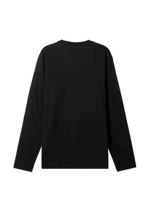 공용) 솔리드 크루넥 긴팔 티셔츠 (BK)