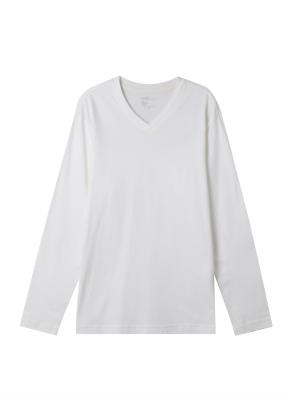 공용) 솔리드 브이넥 긴팔 티셔츠 (WT)