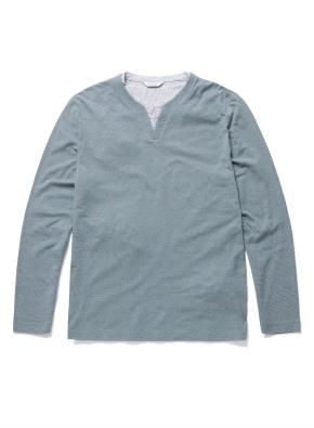 레이어드 슬릿 라운드 티셔츠 (BL)