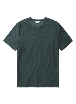 솔리드 슬릿넥 반팔 티셔츠 (PGN)