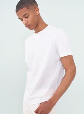 솔리드 슬릿넥 반팔 티셔츠 (WT)