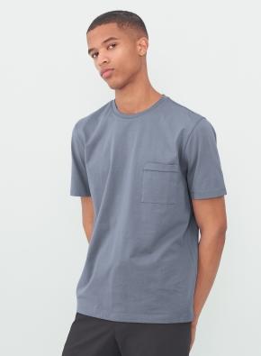 [소프트 블루] 슬럽 포켓 반팔 티셔츠 (BL)