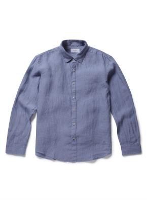 히든 버튼 카라 톤온톤 린넨 셔츠 (BL)