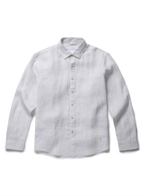 히든 버튼 카라 톤온톤 린넨 셔츠 (LGR)